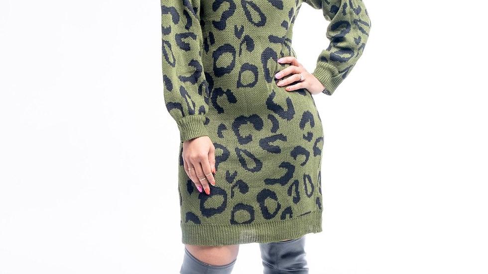 Green Animal Print Sweater Dress
