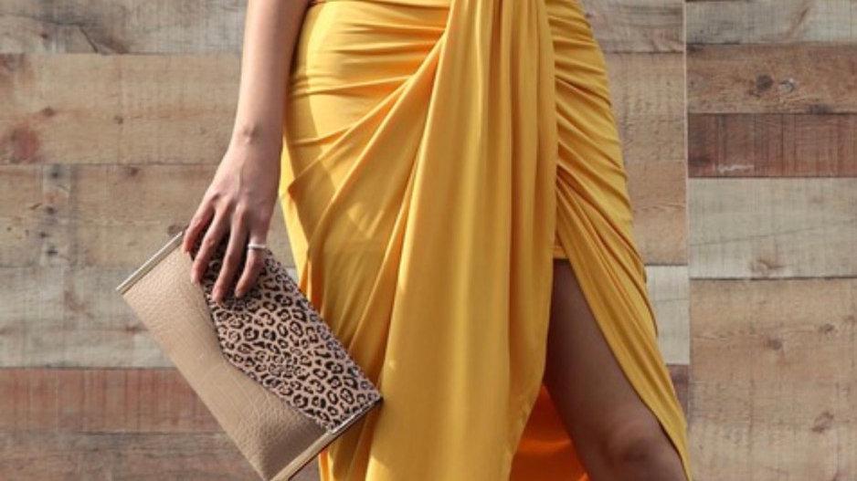 Mustard Venetian Wrap Dress