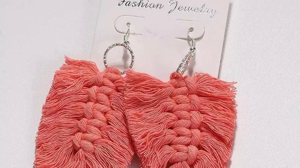 Salmon Macrame Earrings