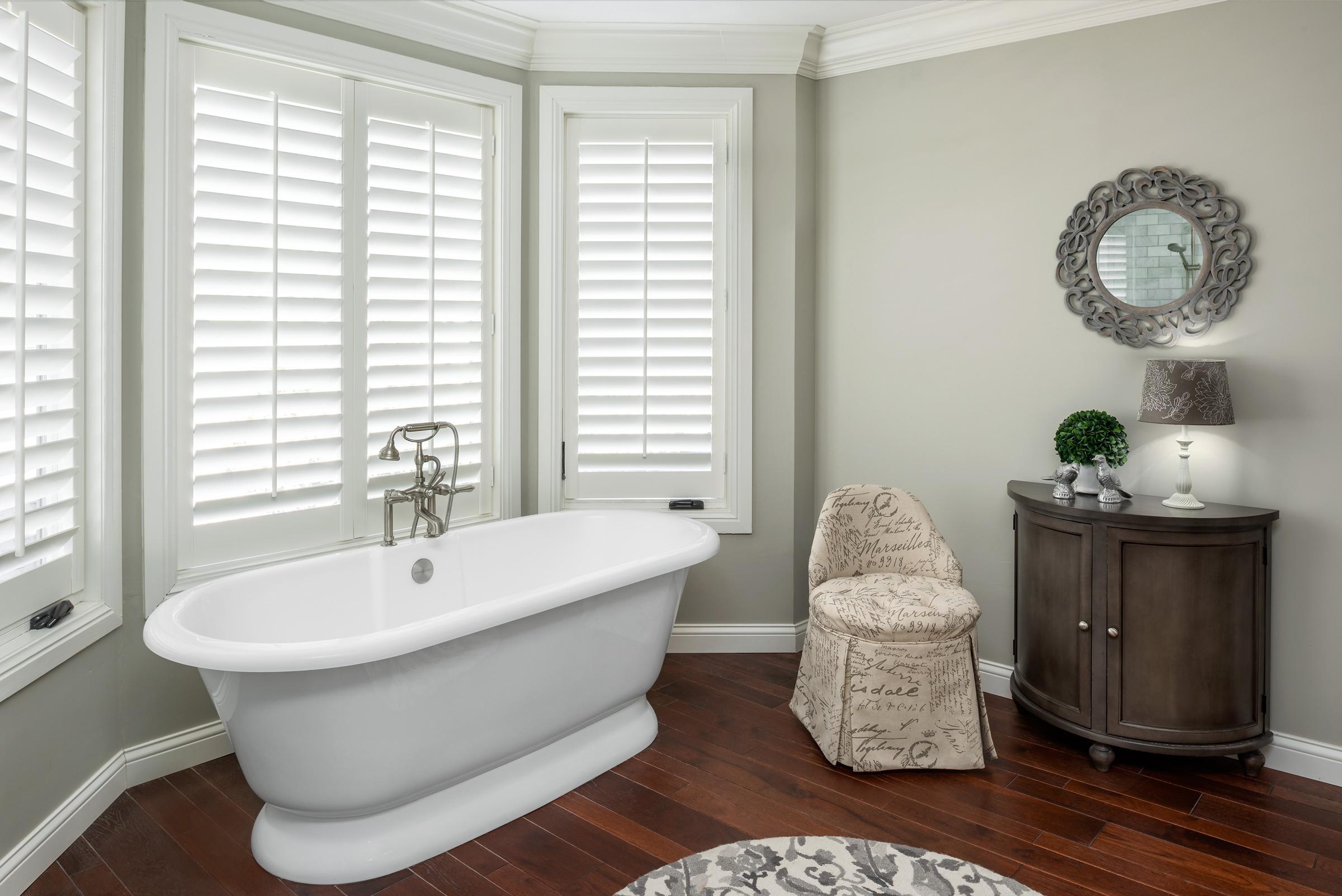 Stand-Alone Tub with Hardwood Floors, Ba