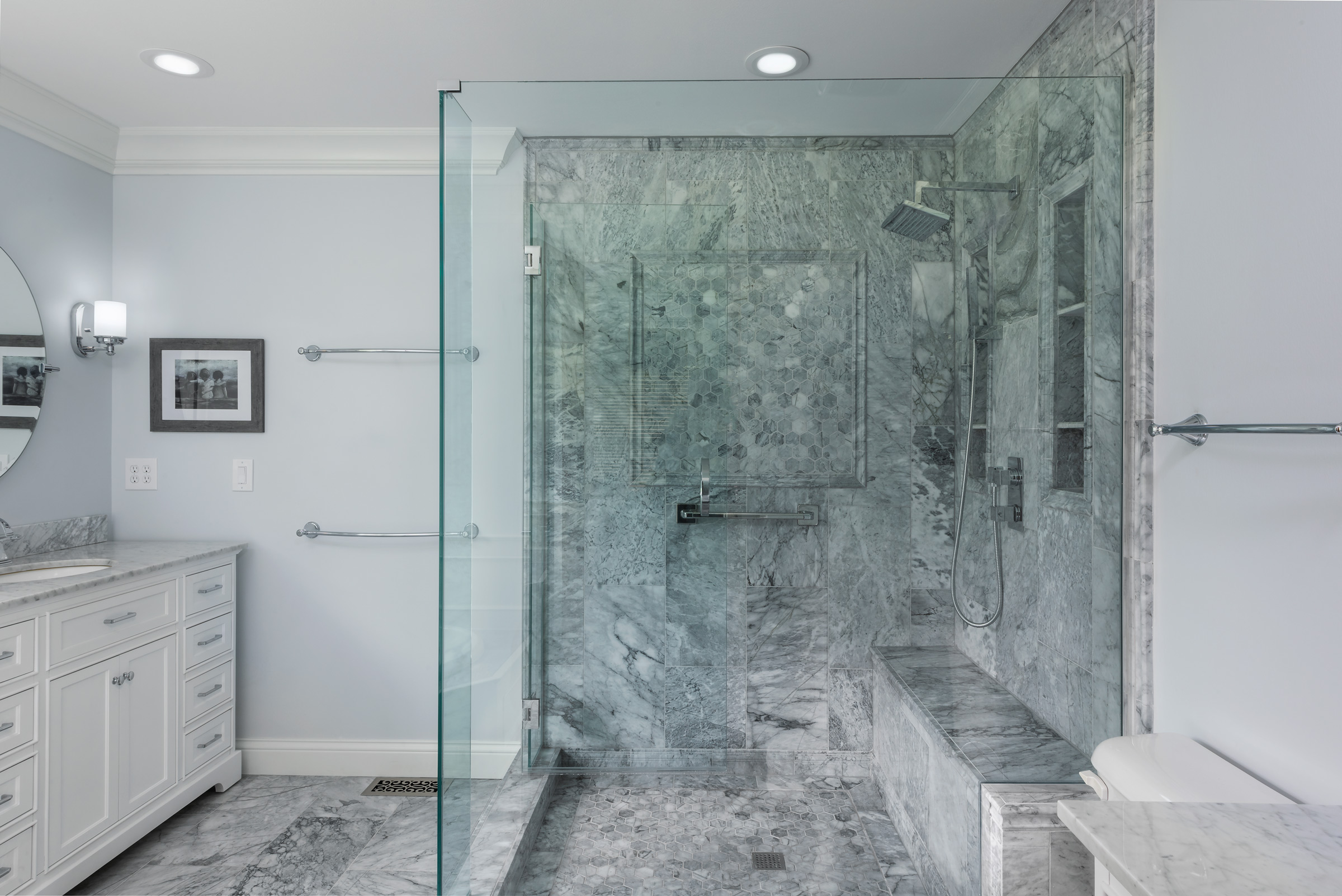 Grey Marble Shower with Bench Seat and G