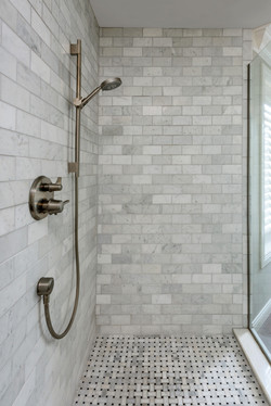 Grey and White Tile Walk-In Shower with