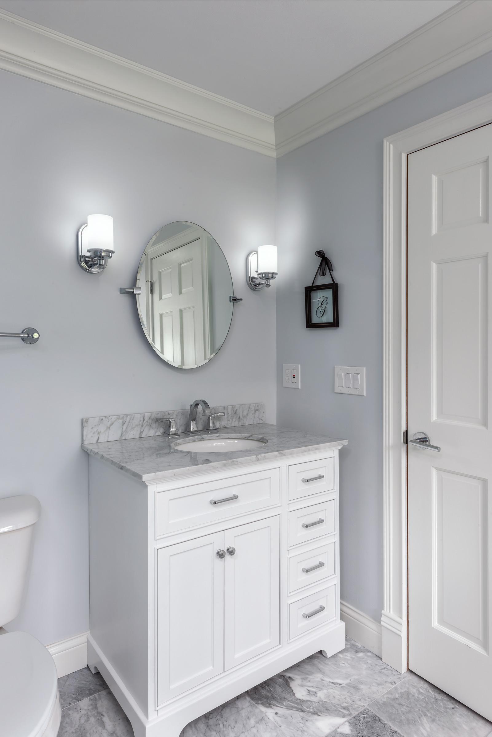 Grey Marble and White Vanity Bathroom Re