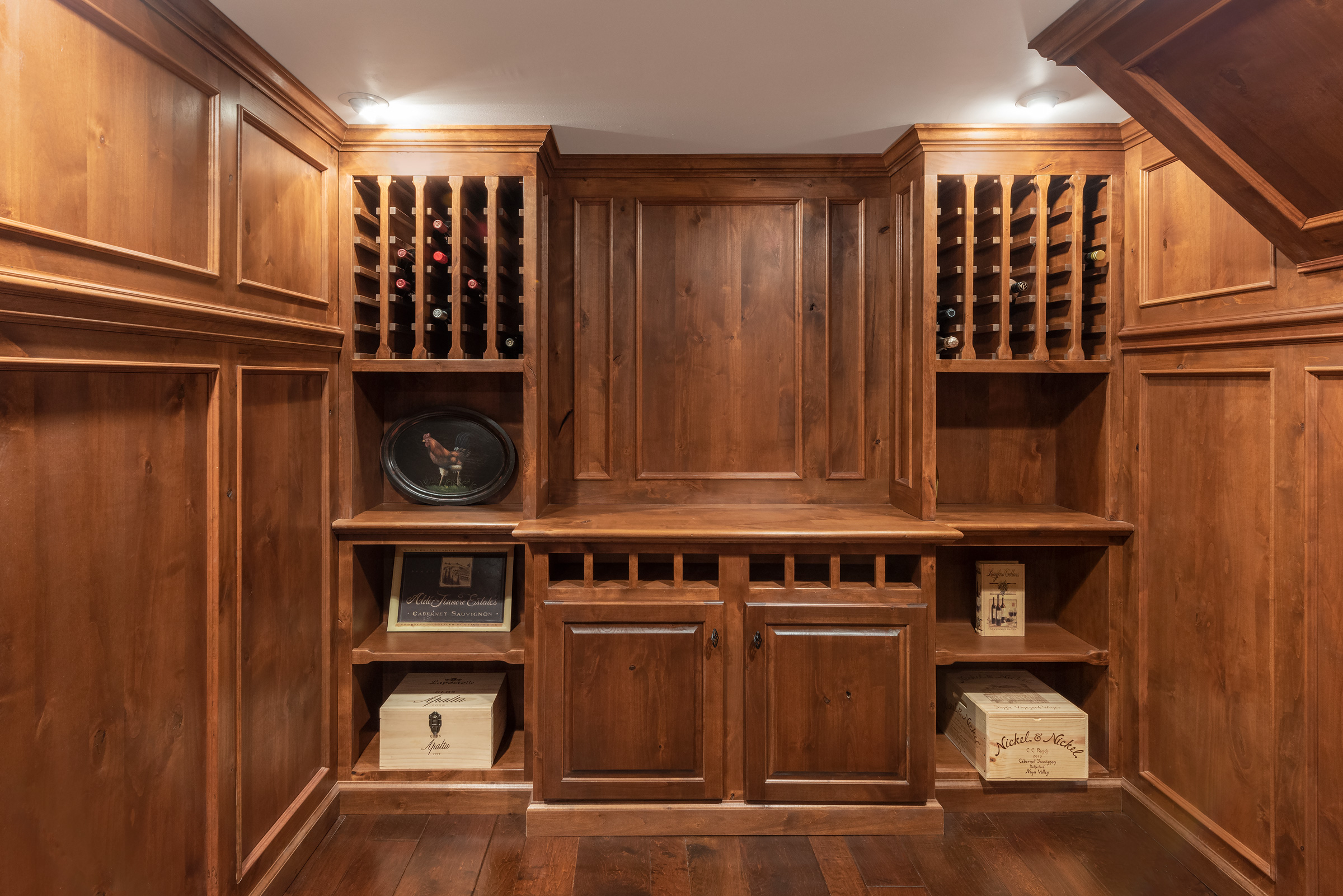 Knotty Pine Wood Paneled Wine Cellar | S