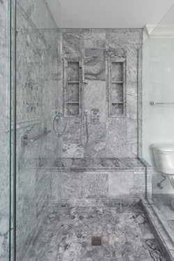 Grey Marble Walk-In Shower with Glass Do