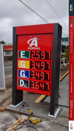 Placa de preço posto de gasolina led