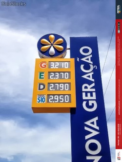 Placa preço Posto Gasolina acm e led