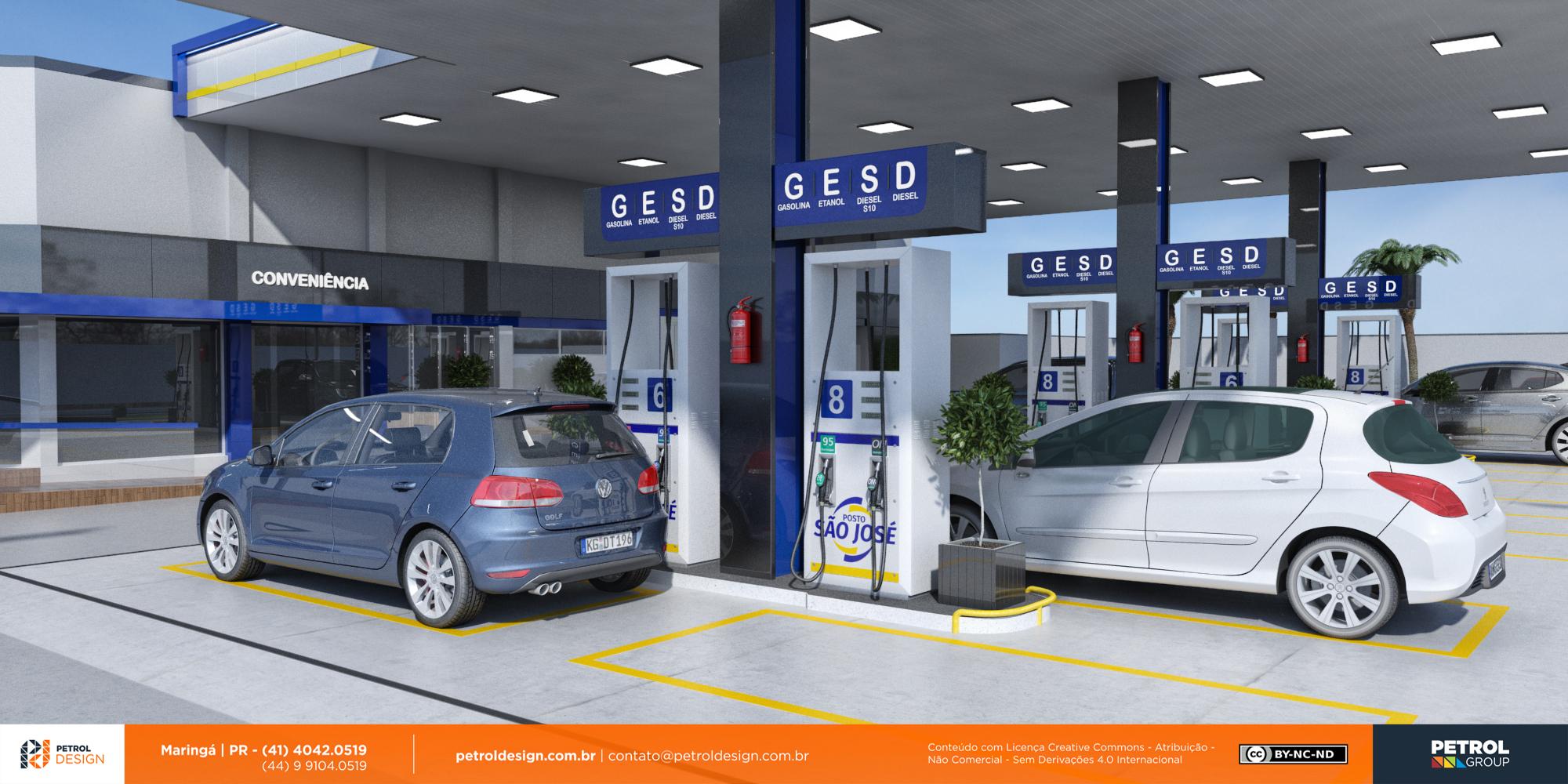 imagens de posto de gasolina em 3D Guara RS