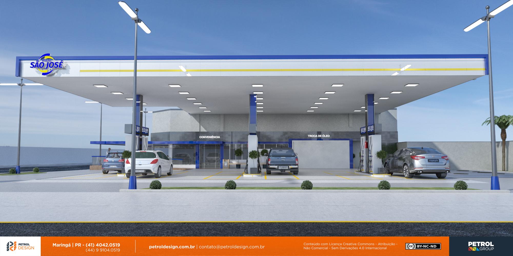 imagens de posto de combustivel em 3D Porto Alegre RS