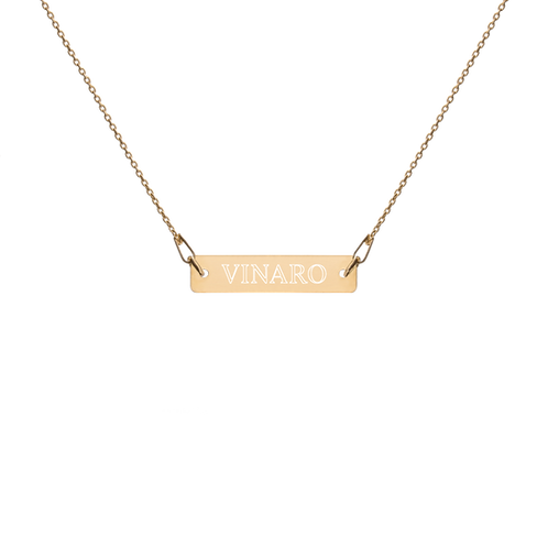 Vinaro Engraved Bar Chain Necklace
