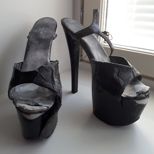 Black Stripper Heels