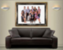 Room set showing large family group portrait © Portraits by Hart