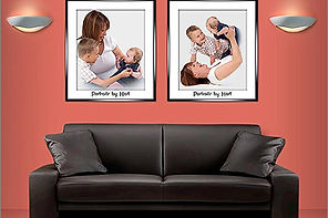 A room set showing examples of family portraits - Portraits by Hart