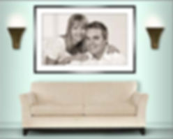 Room set showing couples portrait © Portraits by Hart
