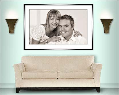 Room set showing couples portrait © Portraits by Hart