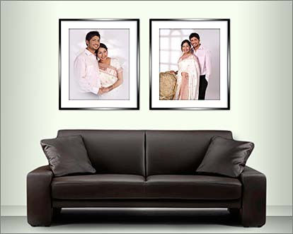 Romm set showing studio wedding portraits © Portraits by Hart