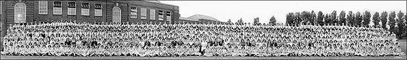 Panorama school group photo restored