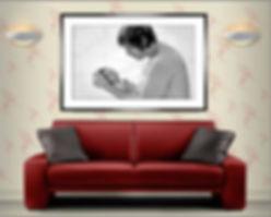 Room set showing a black & white studio portrait © Portraits by Hart