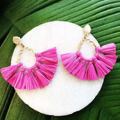 Catalina Raffia Earrings, Pink