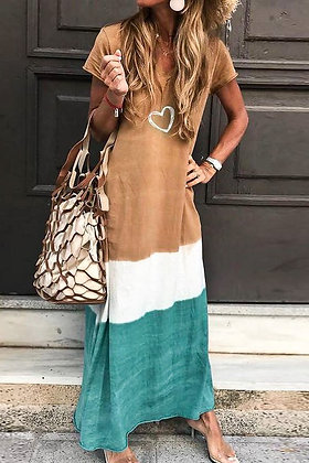 Taupe Tiered Tie Dye Maxi Dress