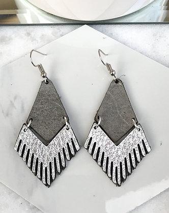 Leather Fringe Earrings, Grey