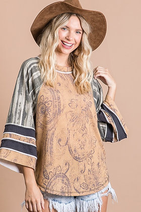 Ready To Go Mixed Print Top