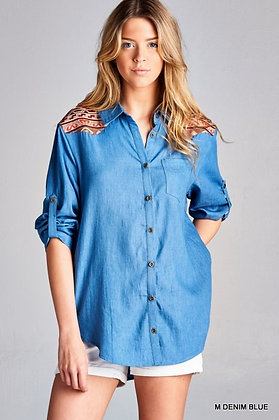 Dressed Up Denim Blouse