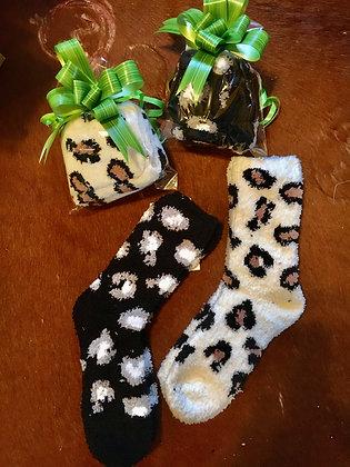 Fuzzy Cozy Leopard Socks