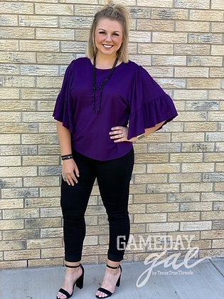 Ruffle Sleeve Blouse, Purple