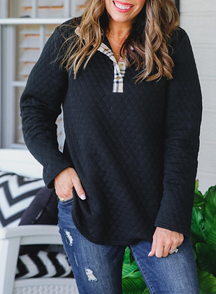 Quilted Plaid Pullover