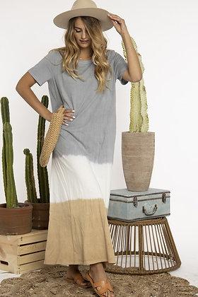 Grey Tiered Tie Dye Maxi Dress