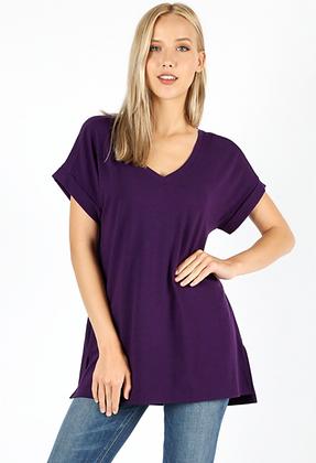 Cuff Sleeve Tunic, Purple