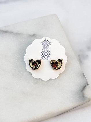 Glitter Leopard Heart Earrings