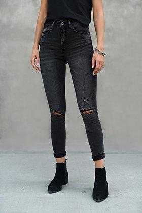 Risen Black Distressed Jeans