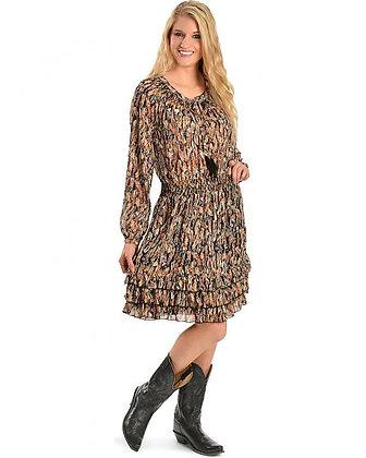 Multi Feather Print Dress