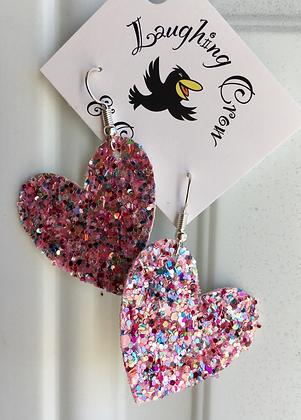 Heart Sparkle Glitter Earrings, Pink