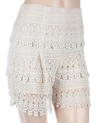 Crochet Lovin Shorts, Ivory