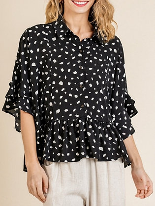 Spotted Ruffle Blouse