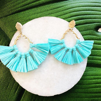 Catalina Raffia Earrings, Aqua