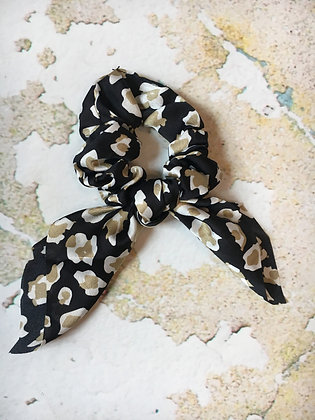 Knotted Leopard Hair Tie, Black