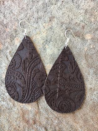 Suede Leather Earrings, Brown