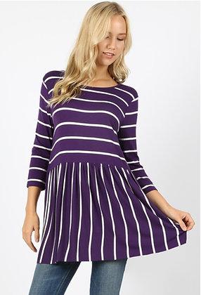 Purple & White Stripe Top