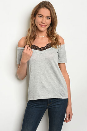 Lace Topped Shoulder Top