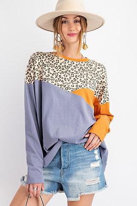 Color Block Leopard Top