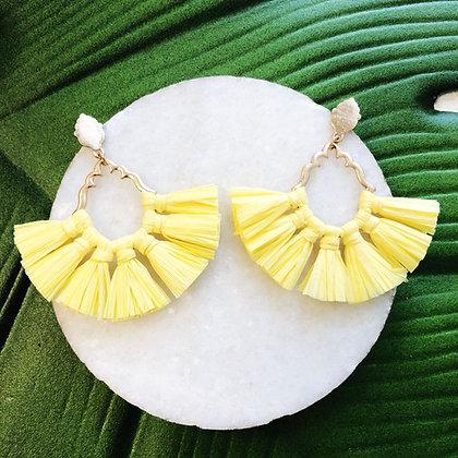 Catalina Raffia Earrings,Yellow