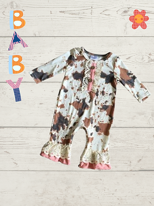 Baby Lace and Cow Print Romper