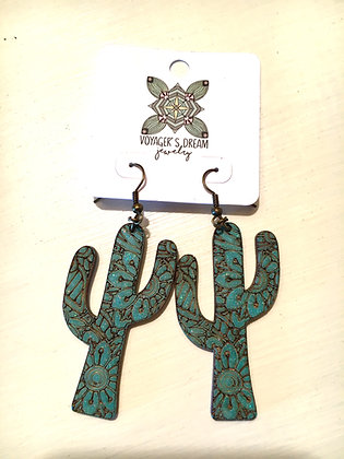 Cactus Wood Earrings
