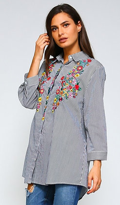 Curvy Floral Embroidery Shirt
