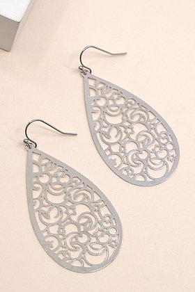 Etched Tear Drop Earrings