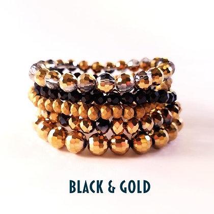 Stack Bracelets, Black & Gold